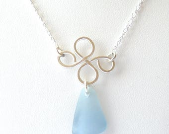 Genuine Light Powder Blue Sea Glass Floating Clover Necklace on Sterling Silver