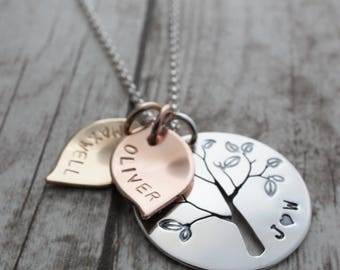 Mixed Metal Family Tree Necklace - Hand Pierced Design with Leaves, Initials, and Children's Names in Sterling Silver and Gold Filled