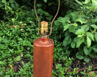 Mid Century Modern Denmark Teak Turned Table Lamp ESA - Mid Century Teak Table Lamp - Danish Teak Lamp - ESA Danish Teak Turned Table Lamp