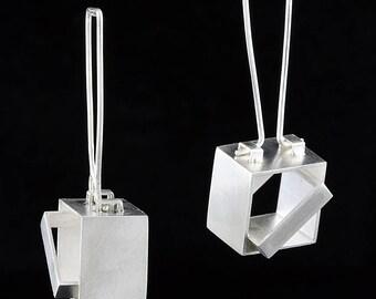 Modern Sculptural Sterling Silver Cube Drop Earrings - Art Jewelry
