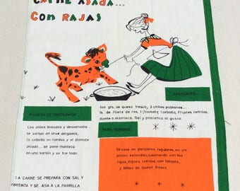 Vintage Mid Century Kitchen Wall Hanging Towel Carne Asada Spanish Recipe Fab Graphics