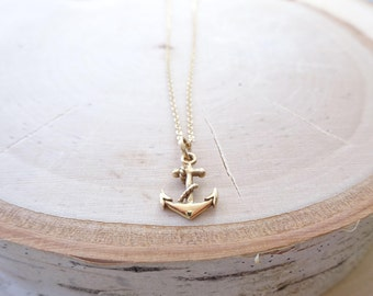Petite anchor charm necklace, nautical jewelry, you are my anchor, friendship, sisters, navy, refuse to sink, Otis B, dainty charm necklace