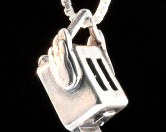Flying Toaster Charm Toaster Icon Album Art Winterland Nerd Jewelry Geek Necklace Rock Jewelry Jefferson Airplane Rock Concert Jewelry