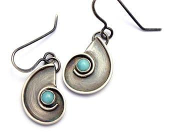 Nautilus Dangle Earrings, Amazonite Earrings, Sterling Silver Earrings, Oxidized Silver Dangles, Boho Beach Jewelry, Bohemian Jewelry