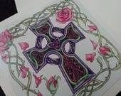 Celtic Cross Card - blank card - celtic knotwork, roses - Easter card? Christian, religious, handmade, signed art print, decorative, Jesus