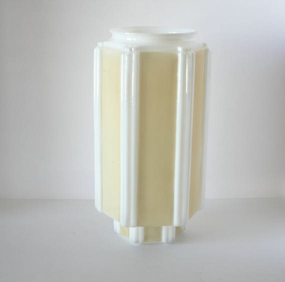 Art Deco Ceiling Light Shade, Milk Glass Paneled Ceiling Mount Light Shade