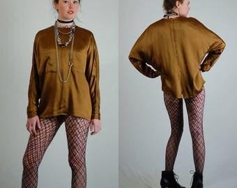 Silk Blouse Vintage Gold Silk Satin Draped Ellen Tracy Minimalist Tunic Blouse (m l)