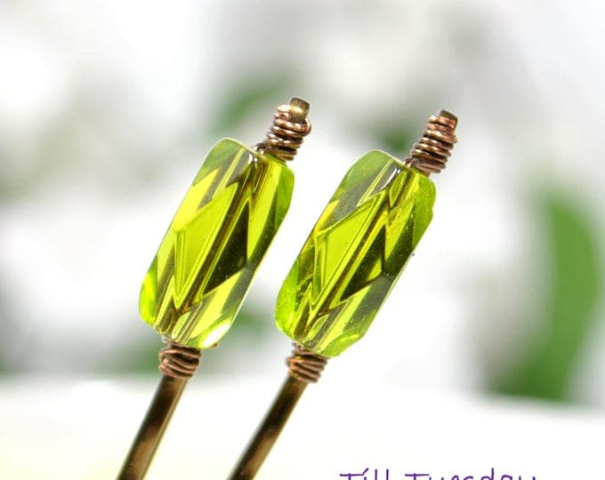 Beaded Bobby Pins Pair of Green Bobbies