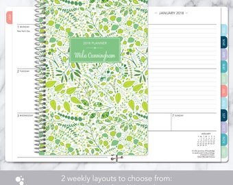 2018 planner calendar choose start month | add monthly tabs weekly student planner personalized agenda daytimer | green leaves vines