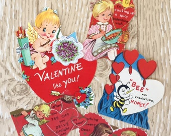 Sweet Set of  5 1960s  Valentines, Treats, Cupid, Angel, Bumblebee and Golf.
