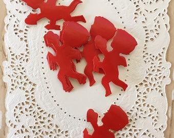 Set of 8 Vintage 1950s Valentine Seals of Cupid, Stickers, Seals, Red
