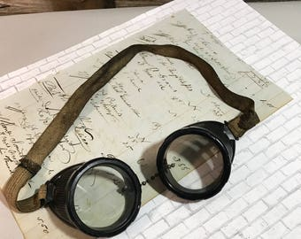 Vintage Military Goggles- WW2 Safety Glasses Optical- MILITARIA GLASSES Adjustable Strap- C4