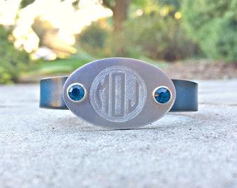 Monogram Leather Bracelet, Personalized Leather Bracelet, Crystal Birthstone Rivets, Custom Engraved Metal & Leather Bracelet, Birthday Gift