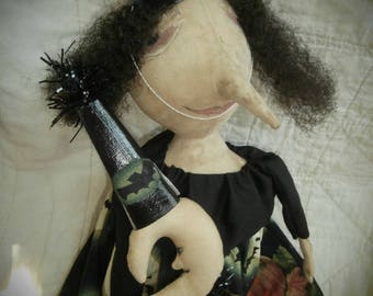 Handmade Primitive Folk Art Witch - Lindy and Her Moon
