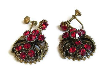Red Rhinestone Filigree Flower Dangle Earrings Vintage