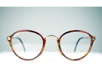 Round Vintage 1970s Christian Dior Demi Amber Gold Tortoiseshell Combo Glasses Panto Hipster Nerd Frame Austria