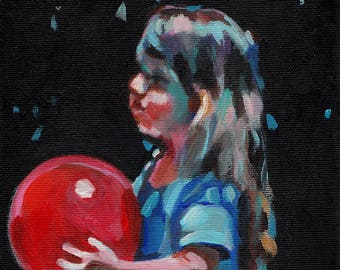 Alice with a red balloon- Original painting  on canvas vintage painting - wall art- wall decor- Handmade painting