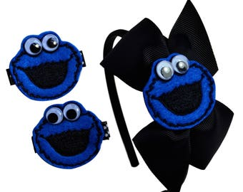 Cookie Monster Preschool and Toddler Headband and Matching Embroidered Hair Clip Set