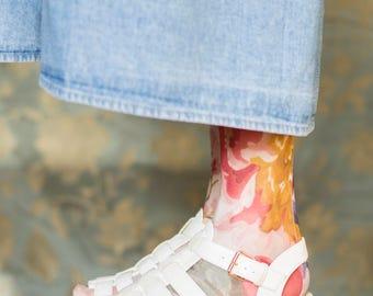Vintage 90s white kitsch flatform wedge sandals UK6 EUR39