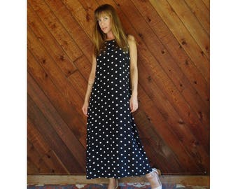 Polka Dot Maxi Dress - Vintage 90s - S/M
