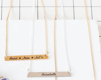 Custom Engraved Bar Necklace in Hand Writing, Personalized Bar Necklace, Gold Name Necklace, Gold Bar Necklace, Monogram Necklace