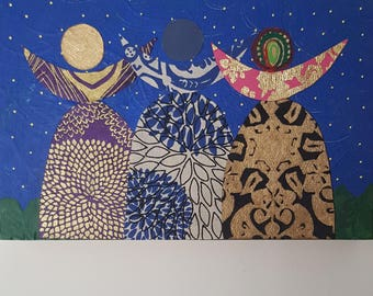 """Feminist, Girl Power """"Tribe"""" Multi-media Painting"""