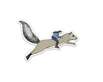 Girl riding a squirrel sticker