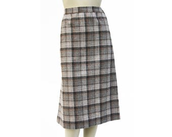 Vintage Wool Brown and Cream and Black Tone Colored Plaid Retro Woman's Straight Fit Skirt