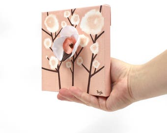 Secret Santa Gift for Coworker Girl, Artwork on Mini Canvas, Original Painting with Hand Crafted Orchid in Peach - Mini 6x6