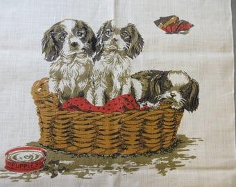 Vintage 1975 Tea Towel, Puppies Tea Towel, Linen Tea Towel, 1972 Calendar Towel, Basket of Puppies, Vintage Kitchen Towel, 1970s Tea Towel