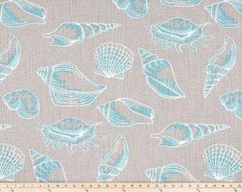 Shells Curtains, Pair of Rod Pocket Panels, Premier Prints Beach Treasure Slub Canvas Fountain, Seaside Ocean Sea, Grey Turquoise