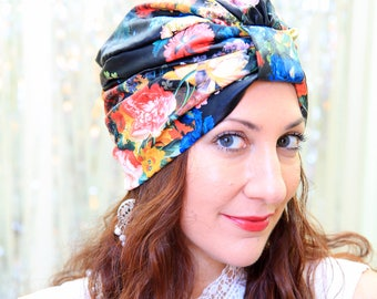 Faux Leather Turban in Black Floral Print - Fashion Turbans for Women - Fake Leather Hair Wrap by Mademoiselle Mermaid