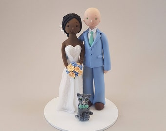 Bride & Groom with a Cat Customized Wedding Cake Topper