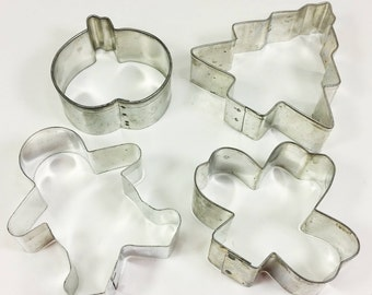 Holiday Cookie Cutter Set, Halloween Pumpkin, Christmas Tree Gingerbread Man and Clover Outline Metal Cutters