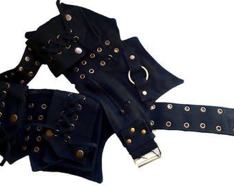 Canvas Utility Belt   Black, 5 pockets   travel, cosplay, festival