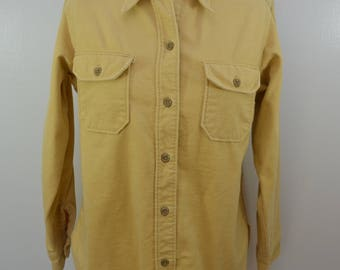 Vintage WOOLRICH WOMAN 1960's Cotton Chamois Cloth Shirt long sleeve made in usa sz 12