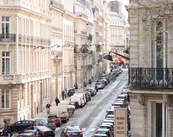 Paris Photography, Afternoon in Paris, Chasing Light, Cafe de La Post,  soft blue and grey tones - French Decor - Paris Wall Art