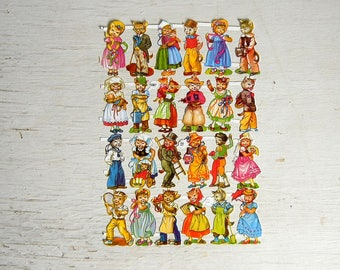 PZB Germany Paper Scrap Victorian Cats in Costumes | German Die Cut Scrap Kittens | Diecut Scrap | Cowboy Sailor Gardener | PZB 1103