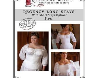 PDF DOWNLOAD Regency Long Stays size 22 Plus, Regency Corset Digital Pattern Jane Austen Empire Printable Sewing Pattern