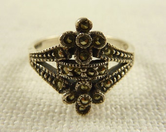Vintage Judith Jack Size 7 Sterling and Marcasite Ring