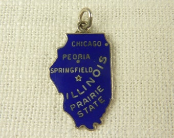 Vintage Sterling and Enamel Illinois Charm