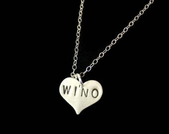 Wino, Wine Lover Gift -Alcoholic, Drunk in Love, Addiction, Wine Charms, Modern, Heart Necklace