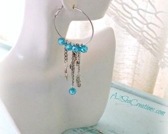 Mermaid Nautical Turquoise Hoop Earrings