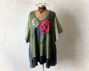 Oversize T-Shirt Plus Size Top Grunge Clothing Green Loose Tunic Recycled Clothes Art To Wear V-Neck Casual Shirt Boho Chic Tee 4X 'LAURA