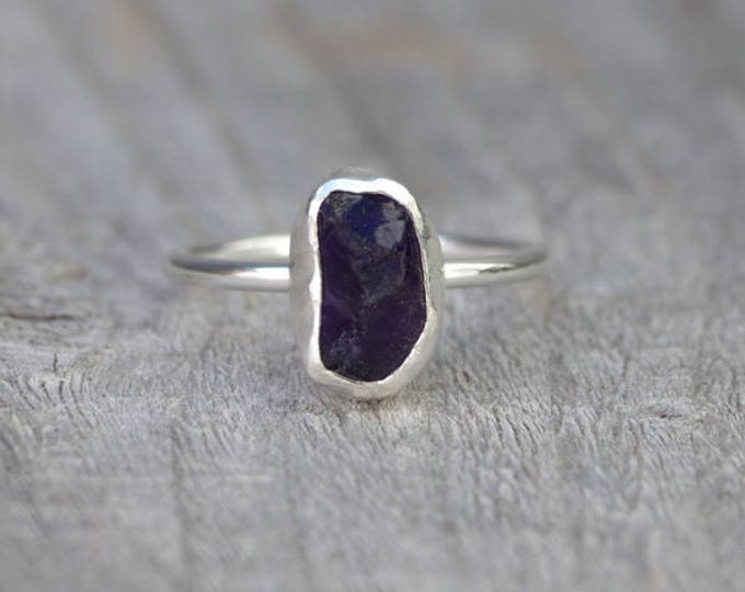 Raw Amethyst Ring In Indigo, February Birthstone, Uncut Raw Amethyst Ring, Rough Amethyst Engagement Ring Handmade In The UK