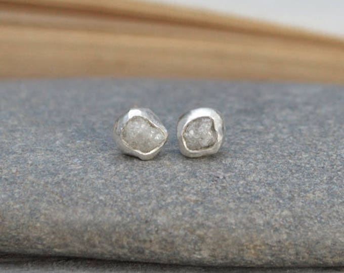 Rough Diamond Earring Studs, Total 0.50ct Diamonds, Light Grey Diamond Wedding Gift Handmade In England