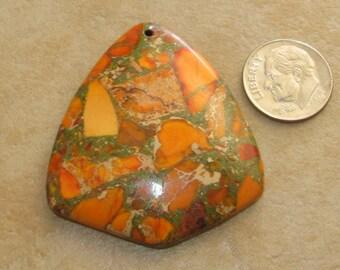 Orange Sea Sediment Jasper & Pyrite Pendant Bead 45x40x6mm
