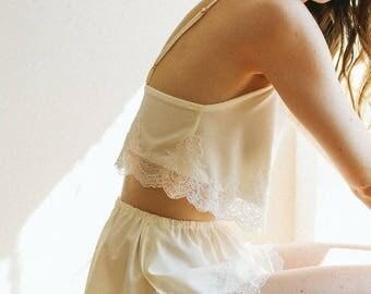 Wedding Lingerie | Ivory Lace Shorts | Honeymoon Lingerie | Lace Trim Shorts | Wedding Getting Ready | High-Waisted Shorts [Eira Shorts]