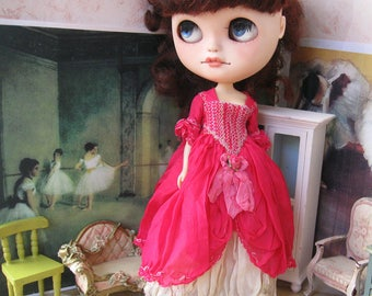 BLYTHE DRESS - Marie Antoinette Styled Hand-Dyed Silk Dress  - Rockstar Red