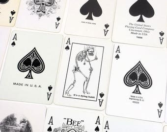 Vintage Skeleton ACE of SPADES | 15 Single Ace Playing Card Assortment Lot | Paper Ephemera | Black & White | Swap Craft | APC-11